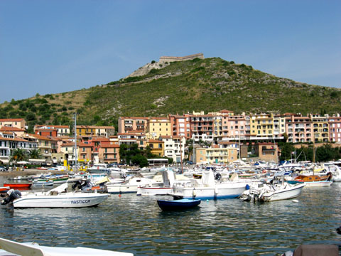 Porto Ercole: View of the harbor, town, and mountain