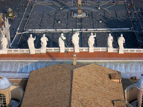 Vatican City: A view of the statues over the entrance to St. Peter's Basilica from above