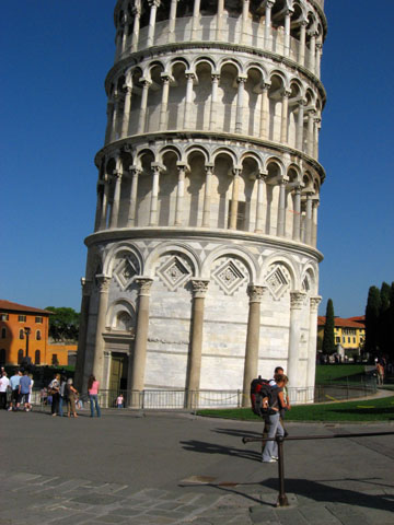 Pisa: The base of the Leaning Tower of Pisa