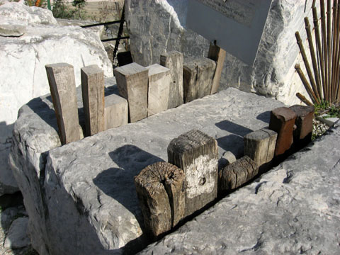 Carrara: A display of tools once used to separate marble blocks