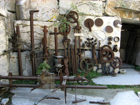 Carrara: A display of tools once used in the marble quarries