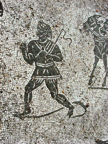 Ostia Antica: A detail from the floor of the frigidarium of the Baths of the Cisiarii; note the attempt at a shadow
