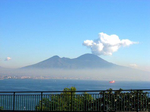 Naples: View of Mt. Vesuvius from accross the Gulf of Naples