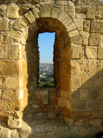 Cumae: View through a window in the ruins; the entire structure is made of tufa