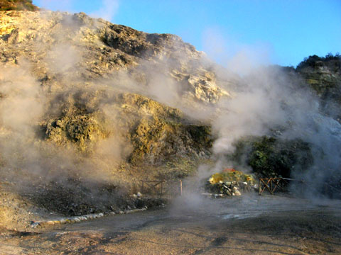 Pozzuoli: Sulfurous vapors rising up from a fumarole in the crater of Solfatara