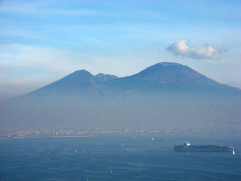Naples: View of Mt. Vesuvius accross the Gulf of Naples