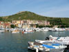 Porto Ercole: View of the harbor and the mountain behind it