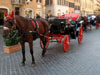 Rome: A horse drawn carriage near the Spanish Steps