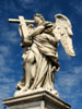 Rome: A statue of an angel on a bridge across the Tiber; one of several depicting the stations of the cross