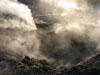 Pozzuoli: Sulfurous vapors rising up in the crater of Solfatara